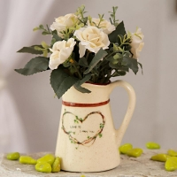 Cream Artificial Roses in Ceramic Pot