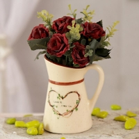 Maroon Artificial Roses in Ceramic Pot