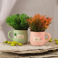 Green, Orange Artificial Flowers in Ceramic Pot Set