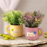 Ceramic Pots with Shades of Yellow, Purple Flowers