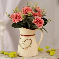 Pink Artificial Roses in Ceramic Pot