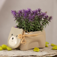Purple Artificial Leaves in Teddy Ceramic Pot