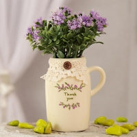 Lavender Artificial Flowers in Thank You Pot
