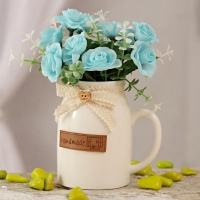 Light Blue Artificial Flowers in Ceramic Pot