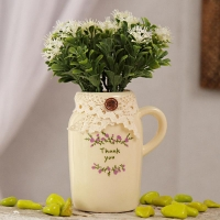 White Ceramic Jug Shaped Pot with White Flowers
