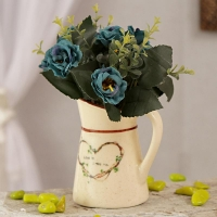 Teal Color Artificial Flowers in Ceramic Pot