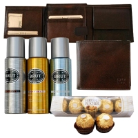 Mens Wallet and Brut Perfumes with Ferrero Rochers