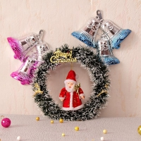 Decorative Wreath with Santa Hanging and Bells